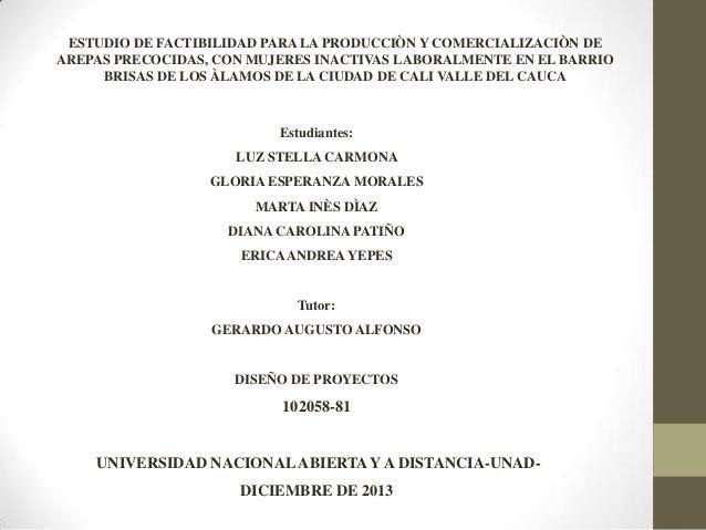 ESTUDIO DE FACTIBILIDAD PARA LA PRODUCCIÒN Y COMERCIALIZACIÒN DE AREPAS PRECOCIDAS, CON MUJERES INACTIVAS LABORALMENTE EN ...