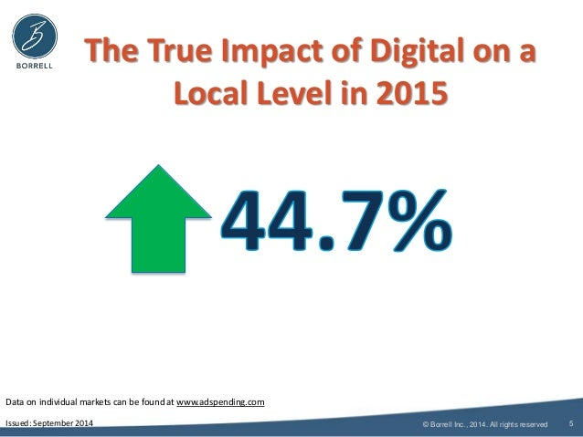 The True Impact of Digital on a  Local Level in 2015  © Borrell Inc., 2014. All rights reserved  5  LOCAL  Data on individ...