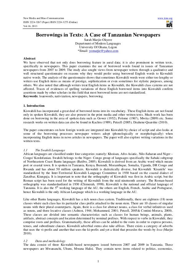 New Media and Mass Communication www.iiste.org ISSN 2224-3267 (Paper) ISSN 2224-3275 (Online) Vol.16, 2013 1 Borrowings in...