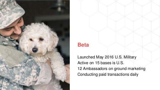 Beta Launched May 2016 U.S. Military Active on 15 bases is U.S. 12 Ambassadors on ground marketing Conducting paid transac...