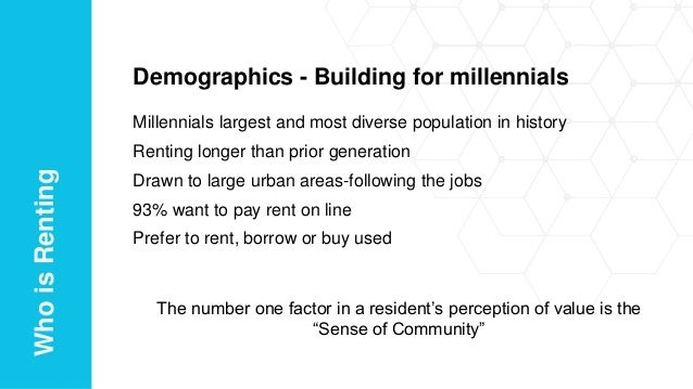 Demographics - Building for millennials Millennials largest and most diverse population in history Renting longer than pri...
