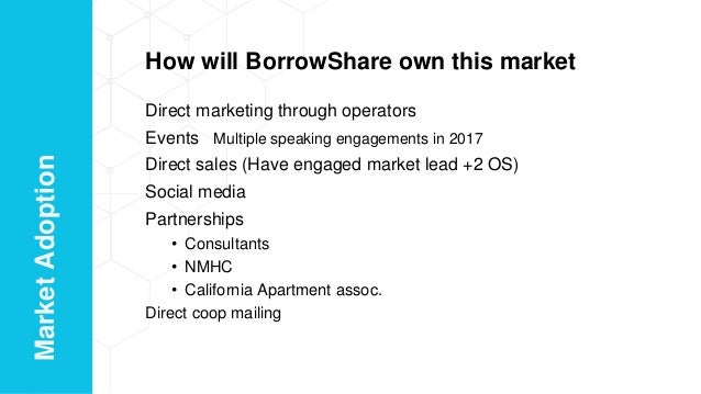 How will BorrowShare own this market Direct marketing through operators Events Multiple speaking engagements in 2017 Direc...