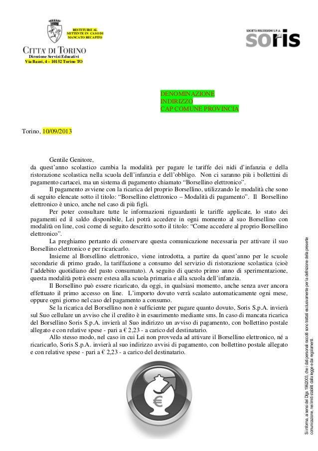 RESTITUIRE AL MITTENTE IN CASO DI MANCATO RECAPITO  Direzione Servizi Educativi Via Bazzi, 4 – 10152 Torino TO  DENOMINAZI...