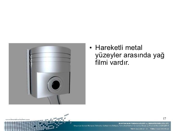 <ul><li>Hareketli metal yüzeyler arasında yağ filmi vardır. </li></ul>