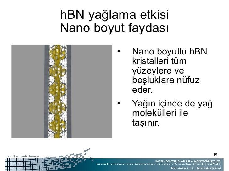 hBN yağlama etkisi Nano boyut faydası <ul><li>Nano boyutlu hBN kristalleri tüm yüzeylere ve boşluklara nüfuz eder. </li></...