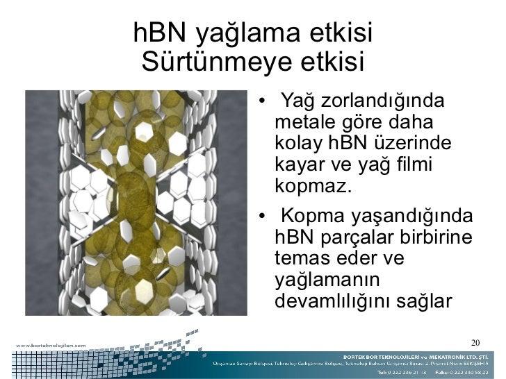 hBN yağlama etkisi Sürtünmeye etkisi <ul><li>Yağ zorlandığında metale göre daha kolay hBN üzerinde kayar ve yağ filmi kopm...