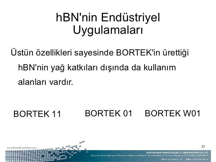 hBN'nin Endüstriyel Uygulamaları <ul><li>Üstün özellikleri sayesinde BORTEK'in ürettiği hBN'nin yağ katkıları dışında da k...