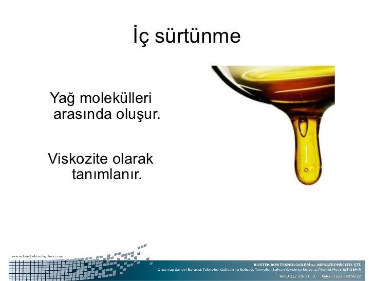 İç sürtünme <ul><li>Yağ molekülleri arasında oluşur. </li></ul><ul><li>Viskozite olarak tanımlanır. </li></ul>