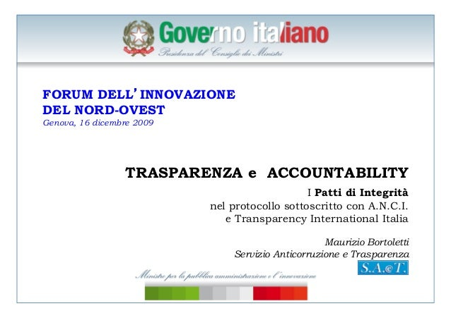 Bortoletti, accountability e trasparenza, f orumpa, genova, 16 dicembre 2009
