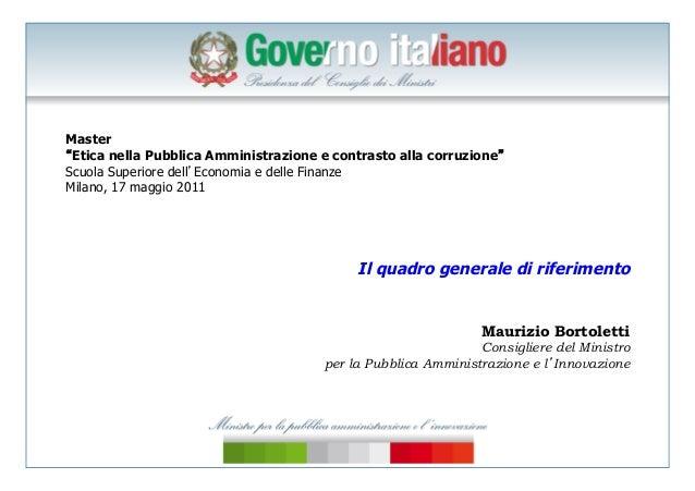 Bortoletti, corruzione, scuola superiore economia finanze, milano 17 maggio 2011