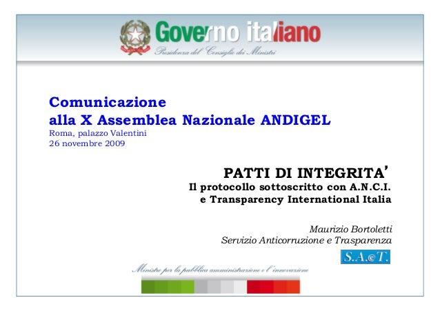 Bortoletti, transparency international e i patti di integrità, roma 26 novembre 2009