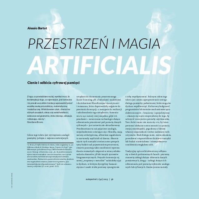 Alessio Bortot  Przestrzeń i Magia  Artificialis Cienie i odbicia cyfrowej pamięci  Ztego, co powiedziano wyżej, wynikać ...