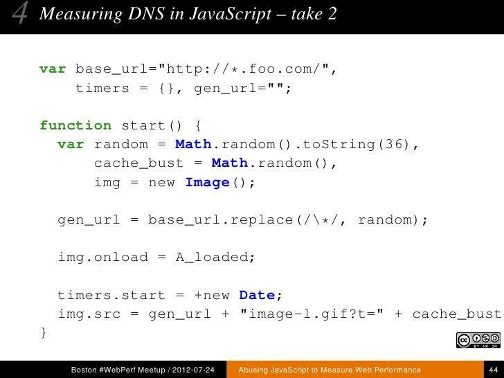 Abusing JavaScript to Measure Web Performance