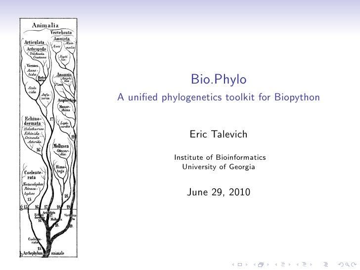 Bio.Phylo: Phylogenetics in Biopython (BOSC 2010)