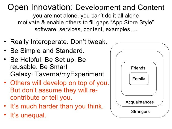 Open Innovation: Development and Content         you are not alone. you can't do it all alone    motivate & enable others ...