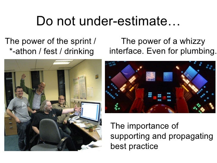 Do not under-estimate…The power of the sprint /        The power of a whizzy *-athon / fest / drinking   interface. Even f...