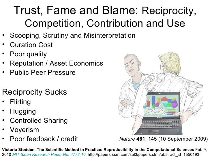 Trust, Fame and Blame: Reciprocity,           Competition, Contribution and Use•   Scooping, Scrutiny and Misinterpretatio...
