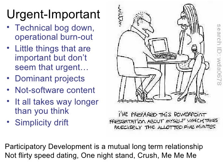 Urgent-Important• Technical bog down,  operational burn-out• Little things that are  important but don't  seem that urgent...