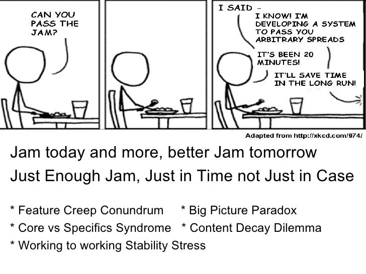 Jam today and more, better Jam tomorrowJust Enough Jam, Just in Time not Just in Case* Feature Creep Conundrum * Big Pictu...