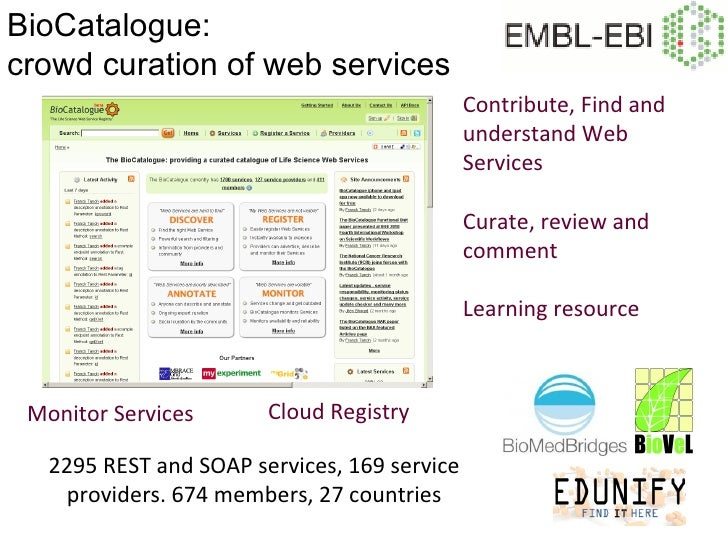 BioCatalogue:crowd curation of web services                                              Contribute, Find and             ...