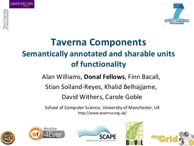 Taverna Components Semantically annotated and sharable units of functionality Alan Williams, Donal Fellows, Finn Bacall, S...