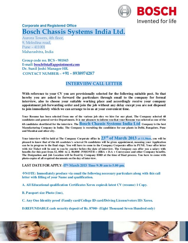 Corporate and Registered OfficeBosch Chassis Systems India Ltd.Aurora Towers, 4th floor,9, Moledina road,Pune – 411001Maha...