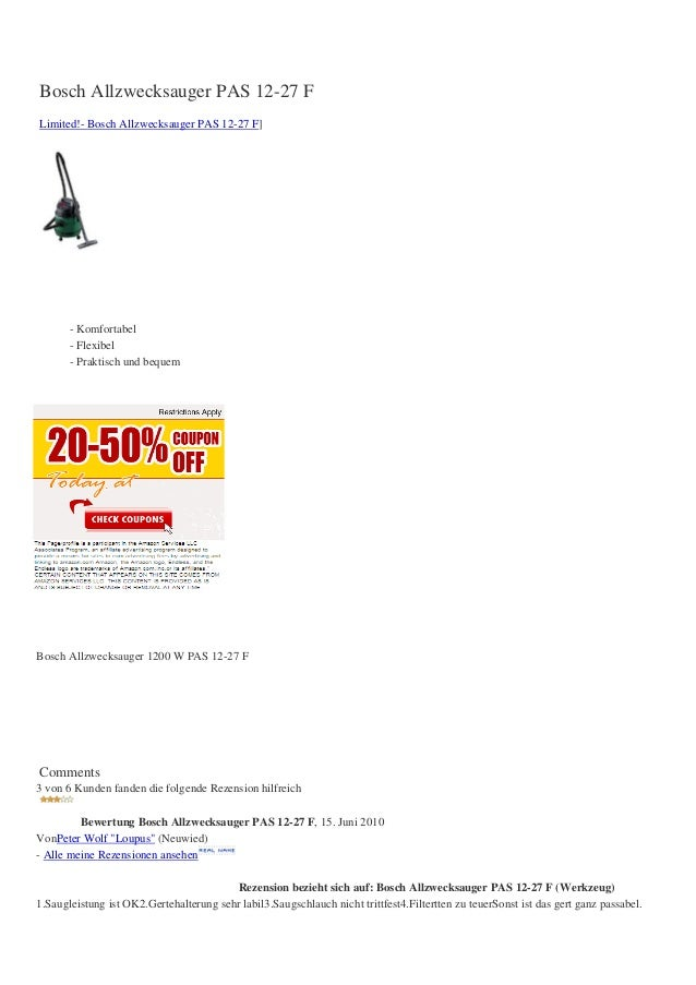 Bosch Allzwecksauger PAS 12-27 FLimited!- Bosch Allzwecksauger PAS 12-27 F]- Komfortabel- Flexibel- Praktisch und bequemBo...