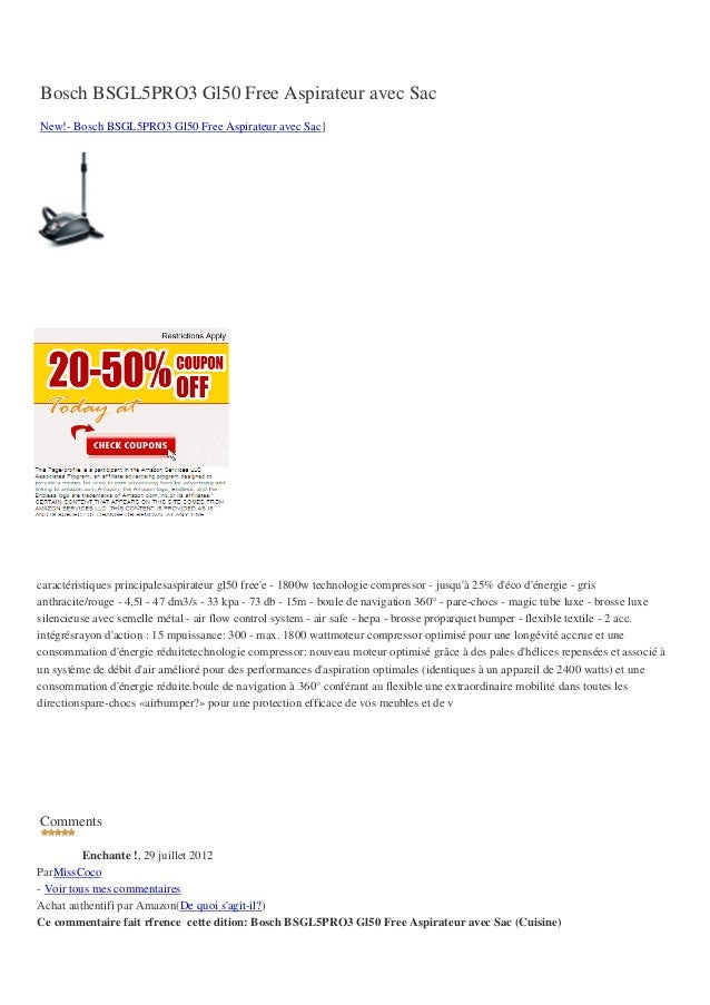 Bosch BSGL5PRO3 Gl50 Free Aspirateur avec SacNew!- Bosch BSGL5PRO3 Gl50 Free Aspirateur avec Sac]caractéristiques principa...