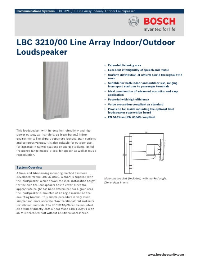 Communications Systems | LBC 3210/00 Line Array Indoor/Outdoor LoudspeakerLBC 3210/00 Line Array Indoor/OutdoorLoudspeaker...
