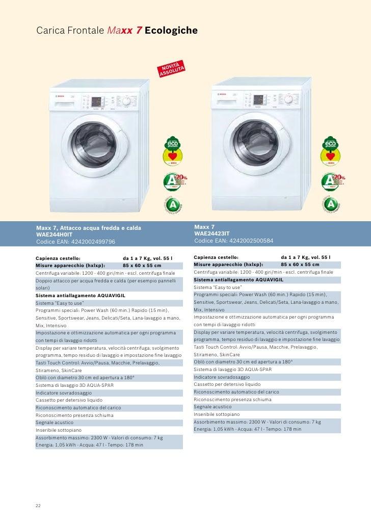Bosch catalogo libero posizionamento for Lavatrici slim misure