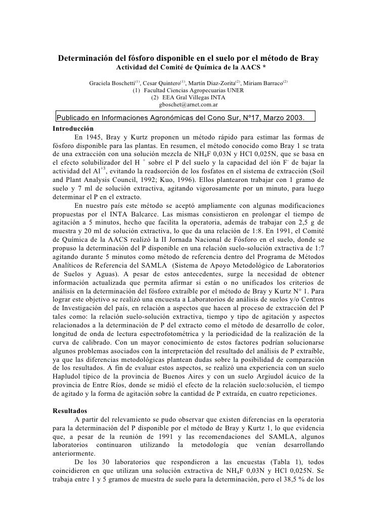 Determinación del fósforo disponible en el suelo por el método de Bray                        Actividad del Comité de Quím...