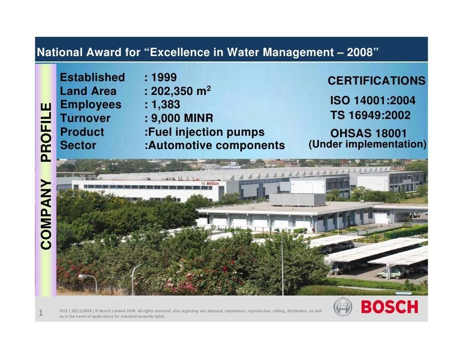 "National Award for ""Excellence in Water Management – 2008""            Established                                    : 199..."