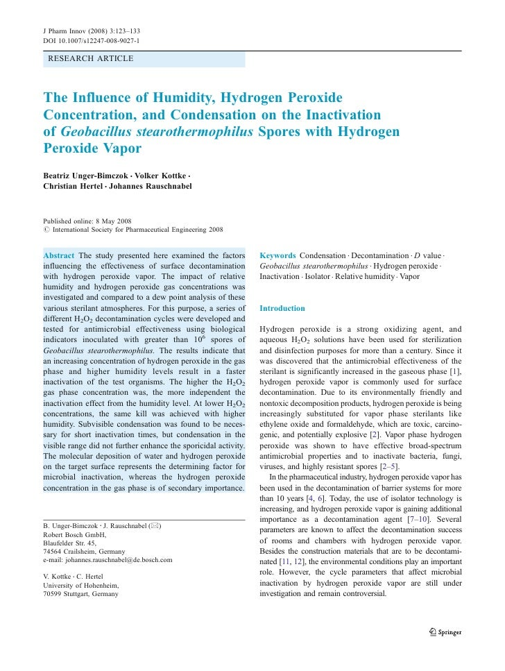 J Pharm Innov (2008) 3:123–133DOI 10.1007/s12247-008-9027-1 RESEARCH ARTICLEThe Influence of Humidity, Hydrogen PeroxideCo...