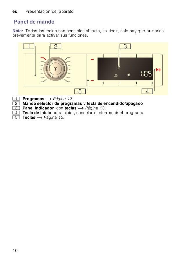es Presentación del aparato 10 Panel de mando Nota: Todas las teclas son sensibles al tacto, es decir, solo hay que pulsar...