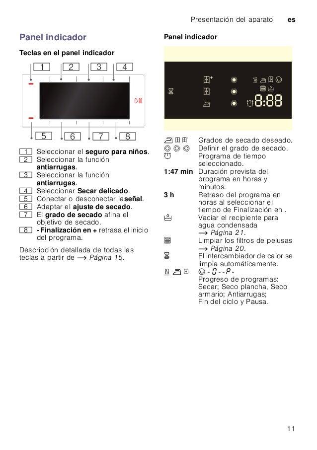Presentación del aparato es 11 Panel indicador Teclas en el panel indicador Descripción detallada de todas las teclas a pa...