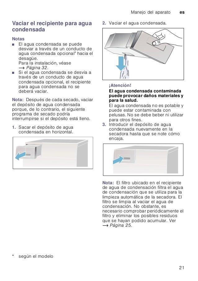 Manejo del aparato es 21 Vaciar el recipiente para agua condensada Notas ■ El agua condensada se puede desviar a través de...