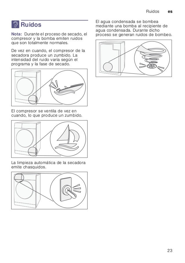 Ruidos es 23 > Ruidos RuidosNota: Durante el proceso de secado, el compresor y la bomba emiten ruidos que son totalmente n...