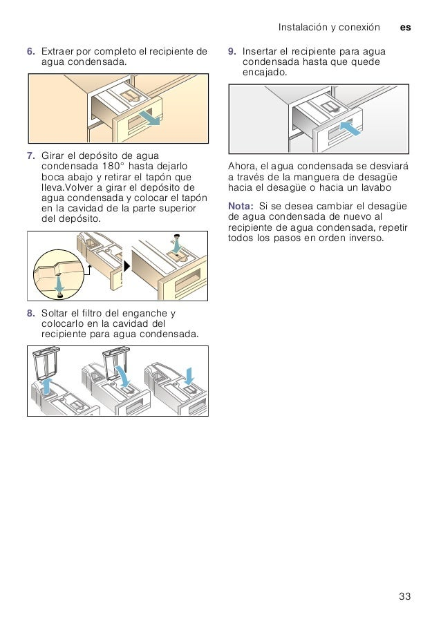 Instalación y conexión es 33 6. Extraer por completo el recipiente de agua condensada. 7. Girar el depósito de agua conden...