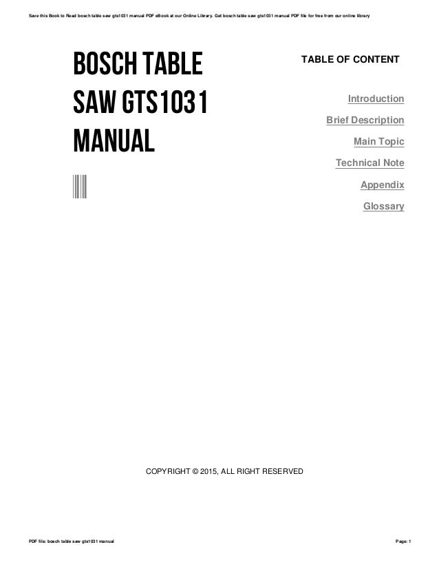 Bosch table saw gts1031 manual