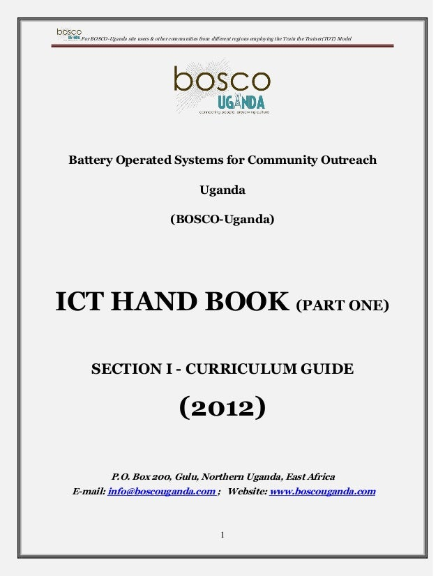 For BOSCO-Uganda site users & other communities from different regions employing the Train the Trainer(TOT) Model  Battery...