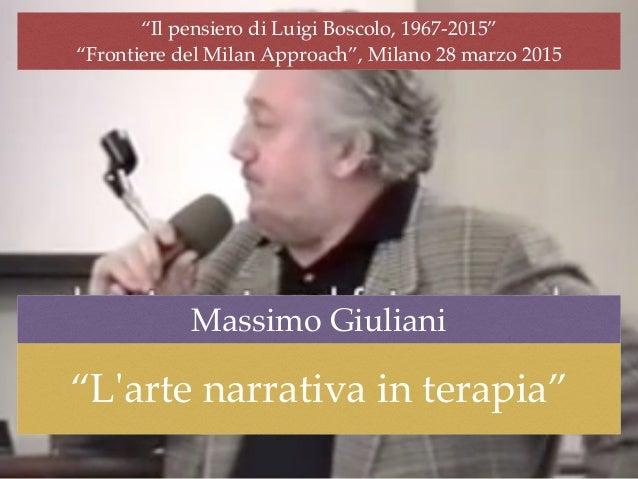 """""""Il pensiero di Luigi Boscolo, 1967-2015"""" """"Frontiere del Milan Approach"""", Milano 28 marzo 2015 """"L'arte narrativa in terapi..."""