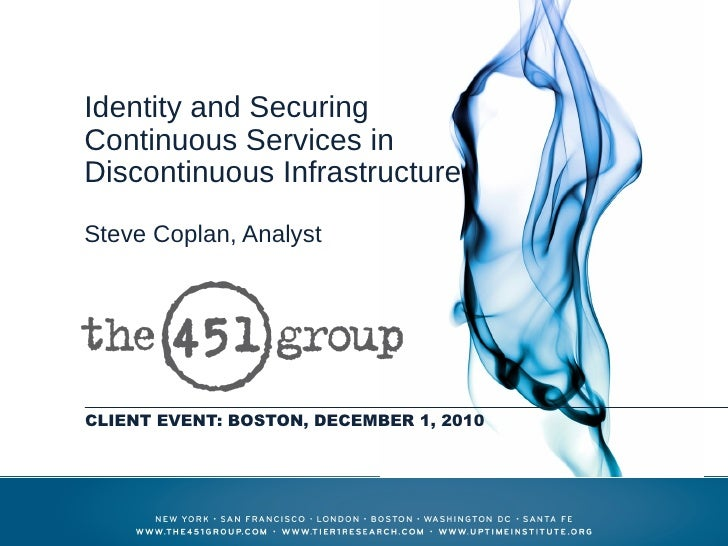 Identity and SecuringContinuous Services inDiscontinuous InfrastructureSteve Coplan, AnalystCLIENT EVENT: BOSTON, DECEMBER...