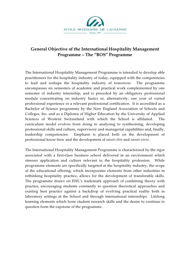 """General Objective of the International Hospitality Management                Programme – The """"BOS"""" Programme   The Interna..."""