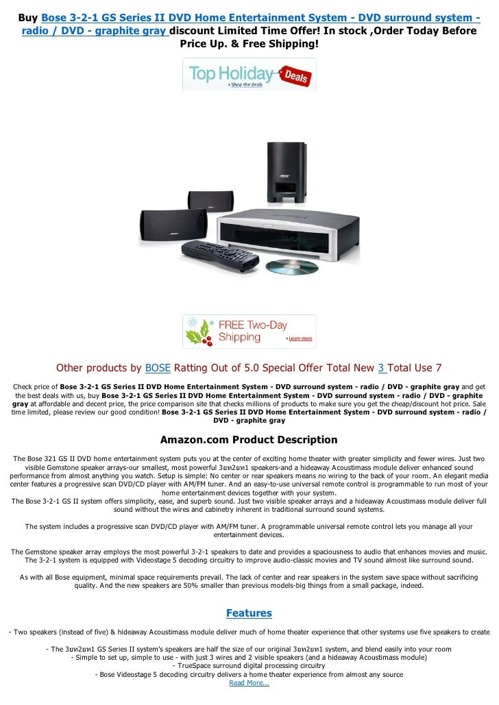 Bose 3-2-1 GS Series II DVD Home Entertainment System - DVD