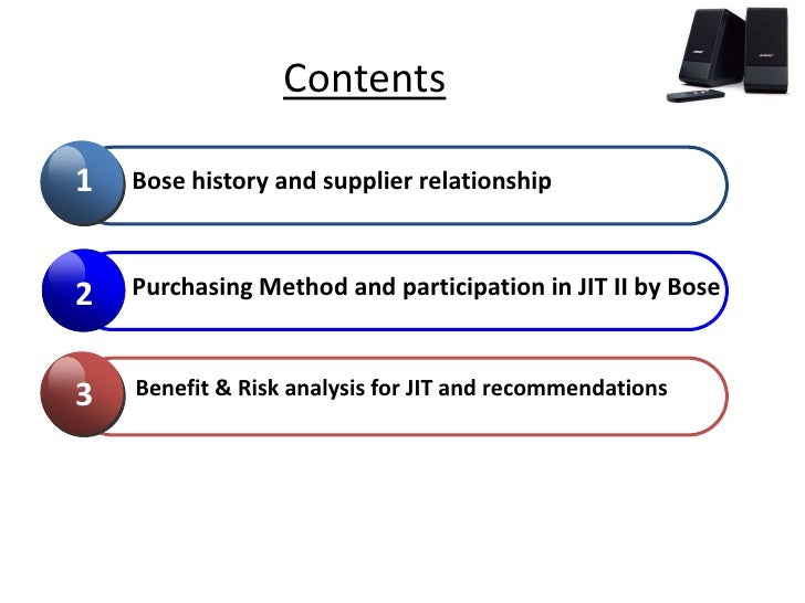 bose jit ii Case no18: bose corporation: the jit ii program (a) i case background: bose corporation was founded in 1964 by dr amar bose, a professor of electrical engineering and computer science at.