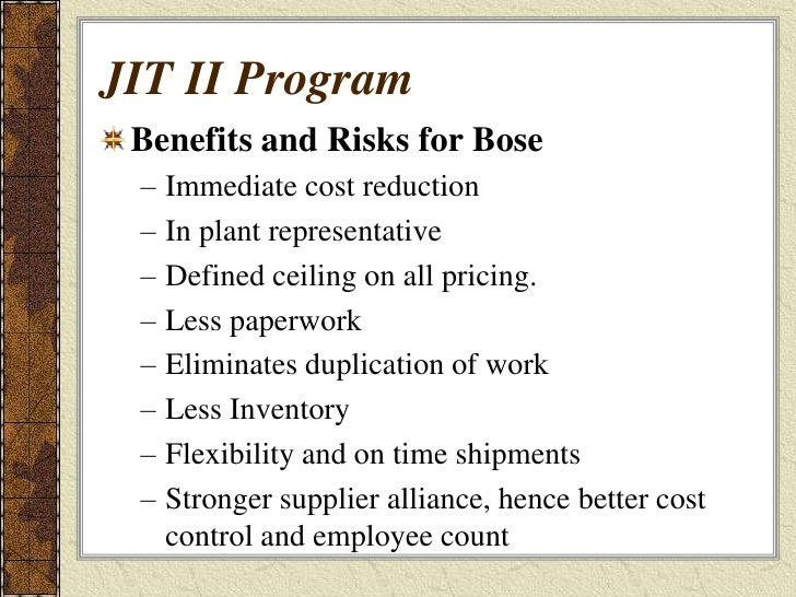 bose corporation the jit ii program Supplements the (a) case must be used with: (9-694-001) bose corp: the jit ii program (a).