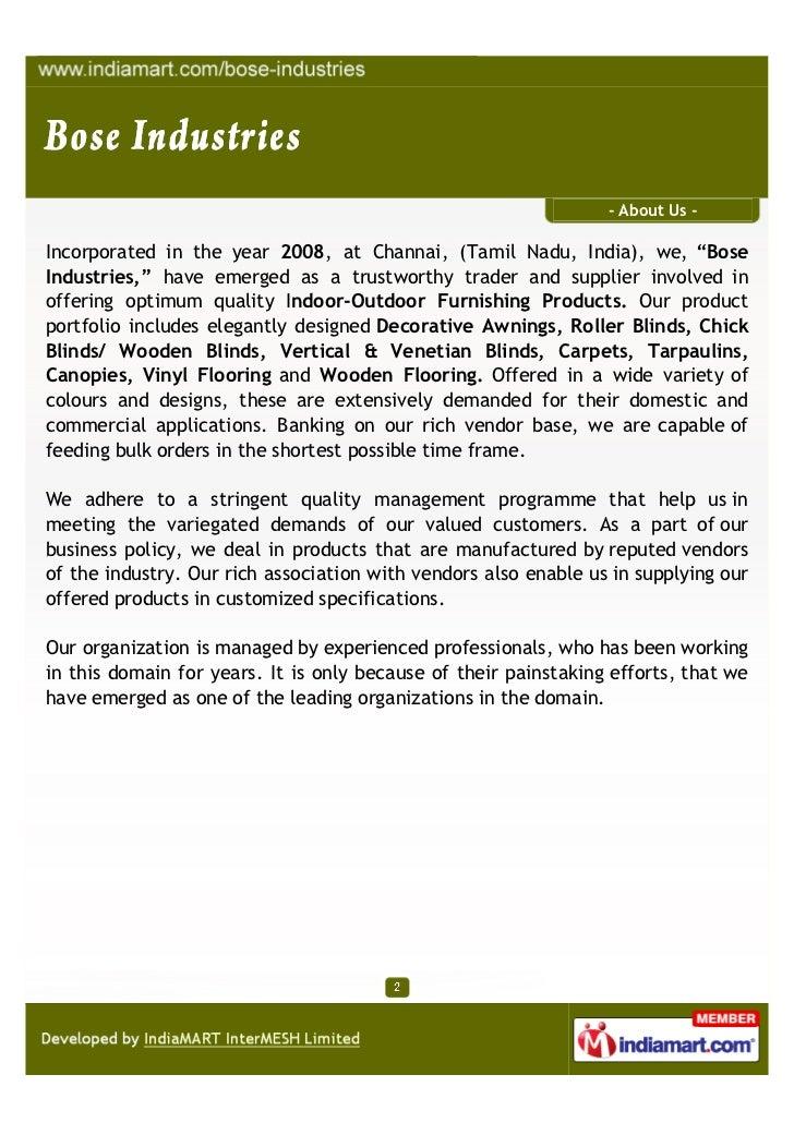 Bose Industries, Chennai, Indoor & Outdoor Decor