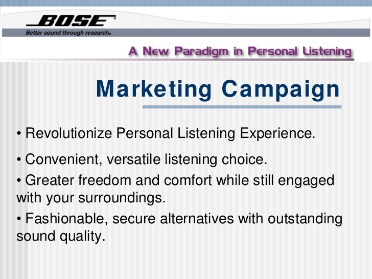 Marketing Campaign• Revolutionize Personal Listening Experience.• Convenient, versatile listening choice.• Greater freedom...