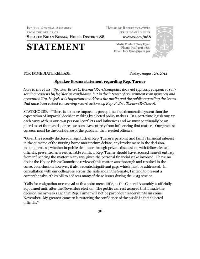 FOR IMMEDIATE RELEASE Friday, August 29, 2014  Speaker Bosma statement regarding Rep. Turner  Note to the Press: Speaker B...