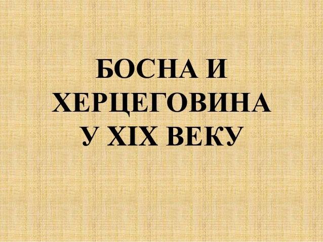 БОСНА И ХЕРЦЕГОВИНА У XIX ВЕКУ